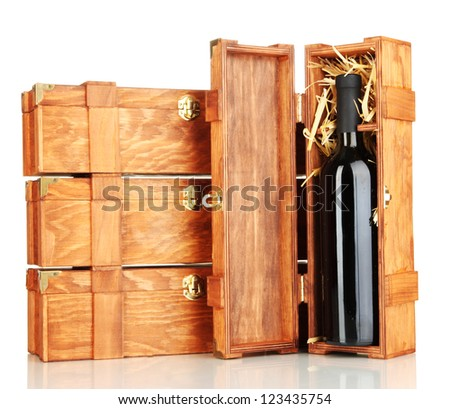 Wooden boxes for wine isolated on white - stock photo