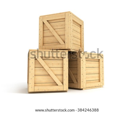 wooden boxes isolated on white background - stock photo