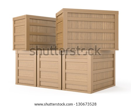 wooden boxes isolated on white. 3d rendered image