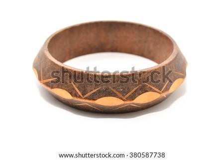 wooden bracelet  - stock photo
