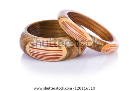 Wooden bracelet isolated on the white - stock photo
