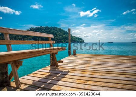 Wooden bridge in beautiful tropical island beach - Koh Kood, Trat Thailand - stock photo