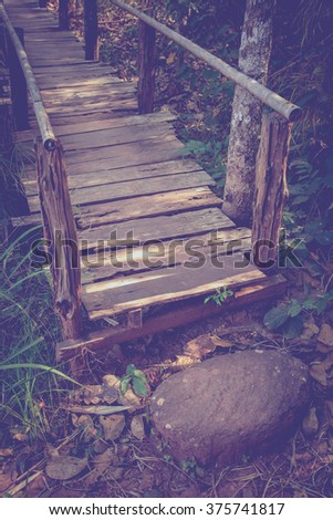 wooden bridge in the forest, Vintage Style.