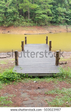 Wooden bridge on the river. Pang Ung, Mae Hong Son province in Thailand.