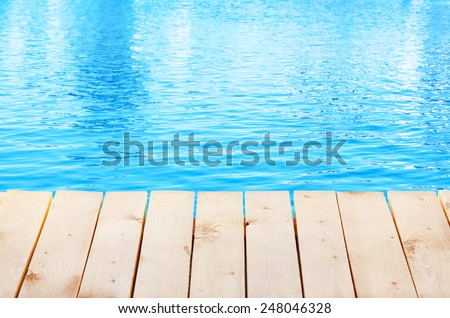 Wooden bridge on way to harbor, close-up - stock photo
