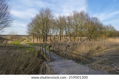 Wooden bridge over a ditch in winter - stock photo