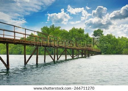 Wooden bridge over the lake - stock photo