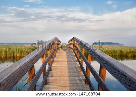wooden bridge through river in morning sunlight - stock photo