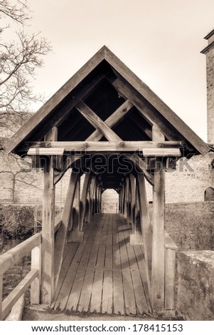 Wooden Bridge to the city wall in the famous medieval city of Rothenburg, Bavaria / Germany