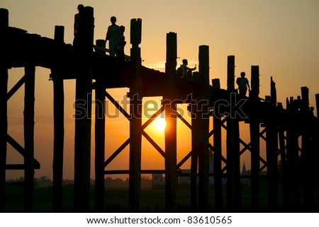 Wooden bridge U Bein in Amarapura city on sunset, Mandalay, Mynamar (Burma).
