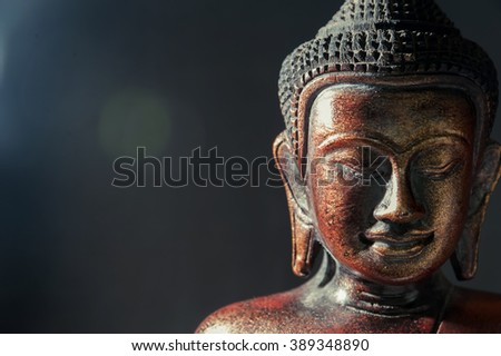 Wooden bronze buddha on black blurred background close up - stock photo