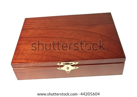 Wooden brown casket, isolated on a white background - stock photo