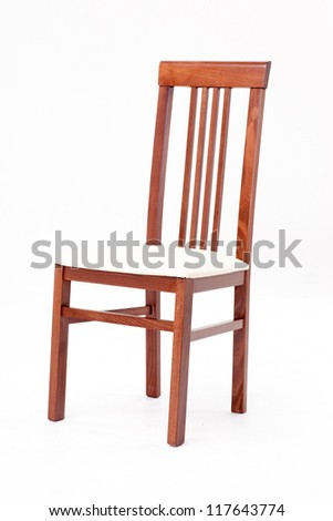 Wooden brown chair isolated on white