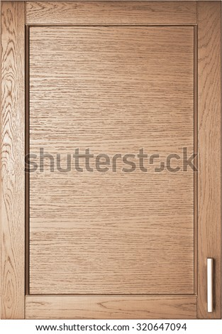 Wooden brown door of wardrobe in kitchen background - stock photo
