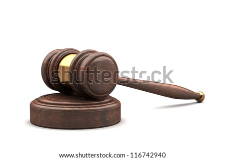 wooden brown gavel and soundboard isolated on white 3d - stock photo