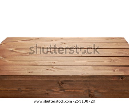 Wooden brown table fragment isolated over the white background - stock photo