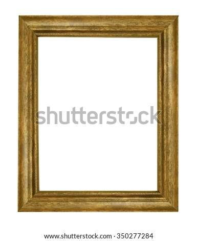 Wooden Brown vintage picture frame isolated on white background