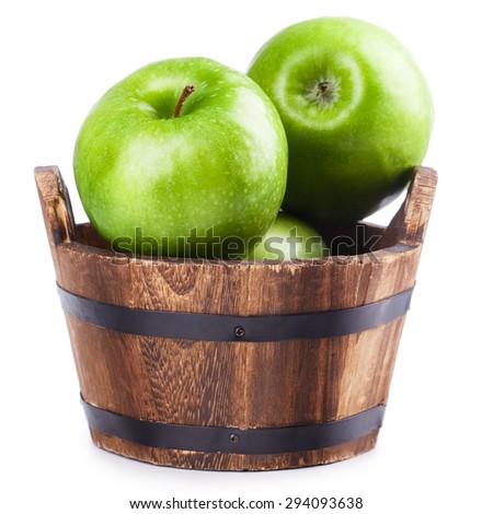 wooden bucket apple Isolated on white background - stock photo