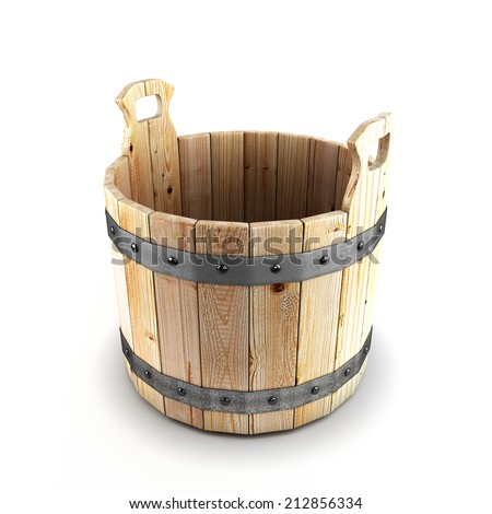 Wooden bucket for a bath isolated on white background - stock photo