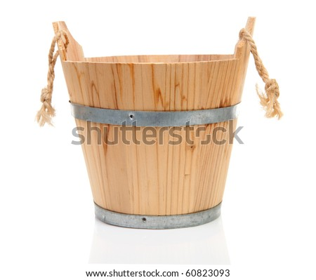 wooden bucket for spa or sauna isolated on white background