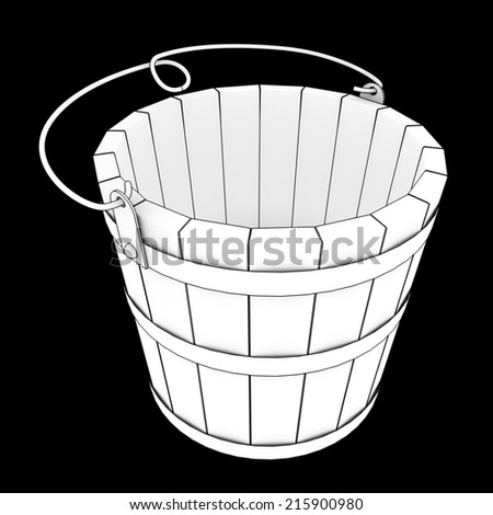 wooden bucket. isolated on black background 3d illustration. high resolution - stock photo