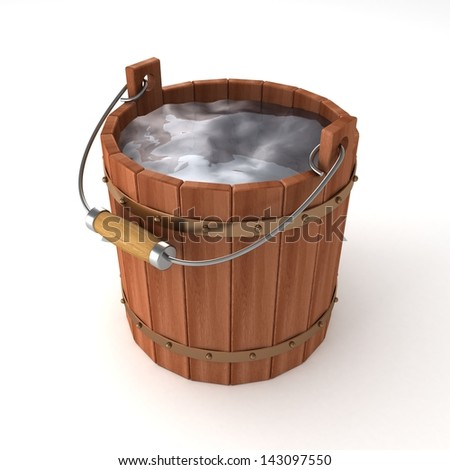 wooden bucket of water on white background - stock photo