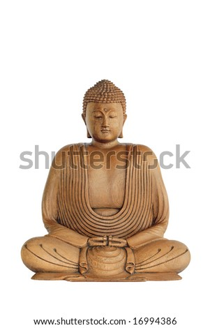 Wooden Buddha with eyes closed in prayer over white background.