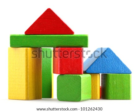 Wooden building blocks. - stock photo