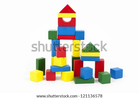 Wooden building blocks - stock photo