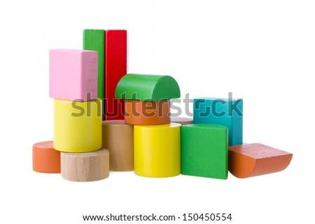 Wooden building blocks. - stock photo