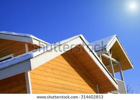 Wooden building structure, closeup of photo