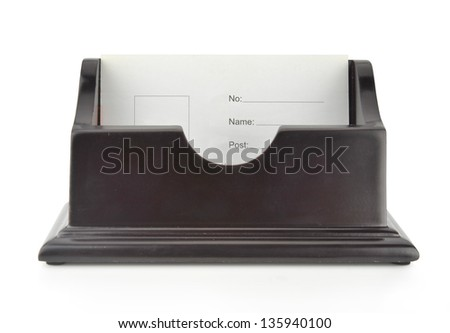 wooden business card holder - stock photo