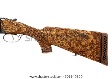 wooden butt of a gun isolated on white background - stock photo