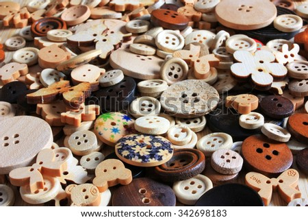 Wooden buttons - set for needlework