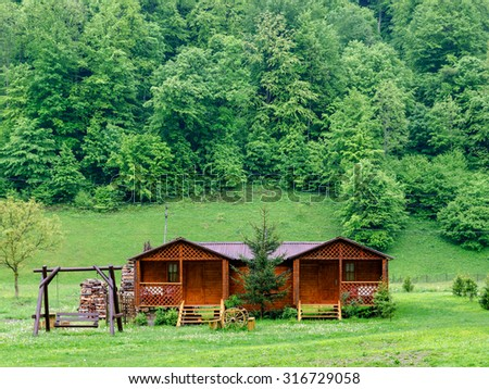 Wooden cabin near the forest