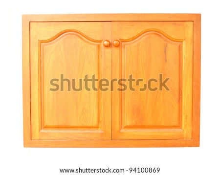 wooden cabinet doors isolated on white background