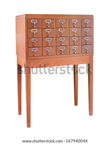 Wooden cabinet for library card isolated on white with clipping path - stock photo