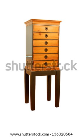 Wooden cabinet  isolated on white