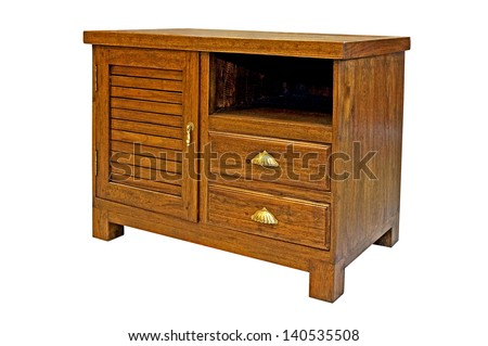 Wooden cabinet isolated on white background