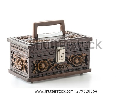 wooden cabinet on white background