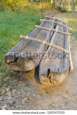 wooden canoes - stock photo