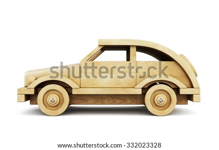 Wooden car side view isolated on white background. 3d illustration. - stock photo