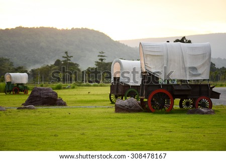 Wooden carriage in  field.