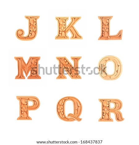 wooden carved alphabet letter isolated on white background
