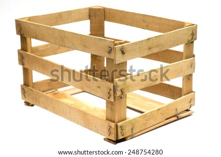 Wooden case, diagonally composed. - stock photo