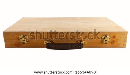 Wooden case with golden locks isolated over white