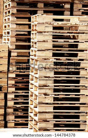 Wooden case & wooden pallet in warehouse - stock photo