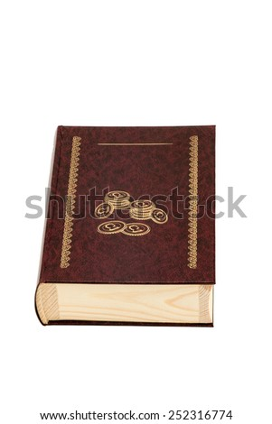 Wooden casket in the form of a closed book for coins isolated on a white background - stock photo