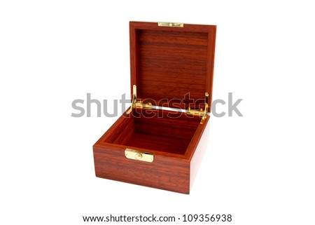 Wooden casket isolated on a white background - stock photo