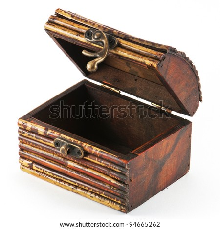 Wooden casket isolated on white background - stock photo